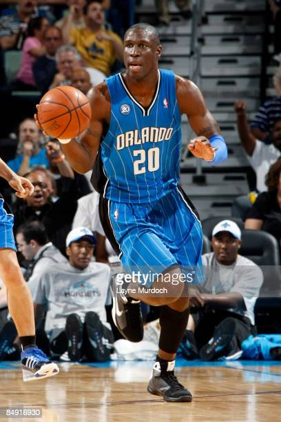 Mickael Pietrus of the Orlando Magic drives against the New Orleans Hornets on February 18 2009 at the New Orleans Arena in New Orleans Louisiana...