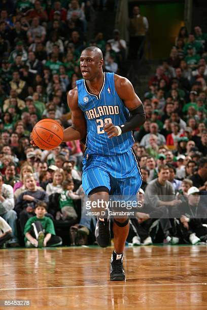 Mickael Pietrus of the Orlando Magic moves the ball up court during the game against the Boston Celtics at The TD Banknorth Garden on March 8 2009 in...