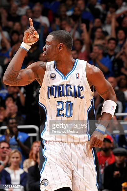 Mickael Pietrus of the Orlando Magic reacts after scoring a three point basket against the Miami Heat on November 24 2010 at the Amway Center in...