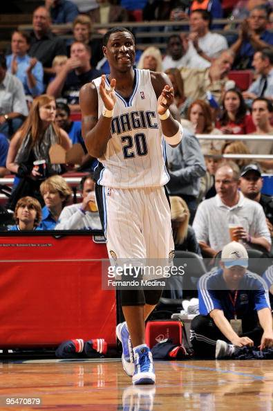 Mickael Pietrus of the Orlando Magic reacts against the New Jersey Nets during the game on November 13 2009 at Amway Arena in Orlando Florida The...