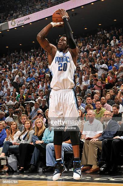 Mickael Pietrus of the Orlando Magic shoots against the Atlanta Hawks in Game Two of the Eastern Conference Semifinals during the 2010 NBA Playoffs...