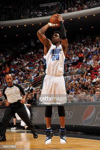 Mickael Pietrus of the Orlando Magic takes a jump shot against the New York Knicks during the game on April 9 2010 at Amway Arena in Orlando Florida...