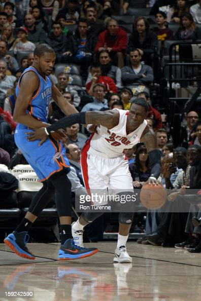Mickael Pietrus of the Toronto Raptors dribbles the ball against the Oklahoma City Thunder on January 6 2013 at the Air Canada Centre in Toronto...