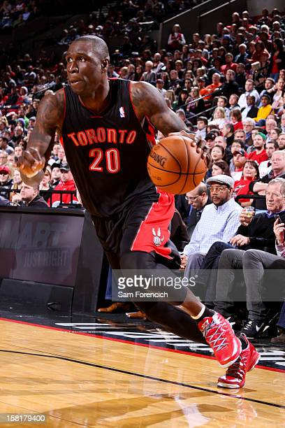 Mickael Pietrus of the Toronto Raptors drives against the Portland Trail Blazers on December 10 2012 at the Rose Garden Arena in Portland Oregon NOTE...