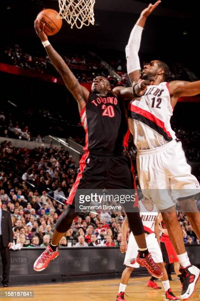 Mickael Pietrus of the Toronto Raptors drives to the basket against LaMarcus Aldridge of the Portland Trail Blazers on December 10 2012 at the Rose...