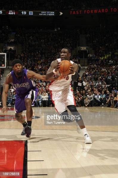 Mickael Pietrus of the Toronto Raptors drives to the basket against the Sacramento Kings on January 4 2013 at the Air Canada Centre in Toronto...