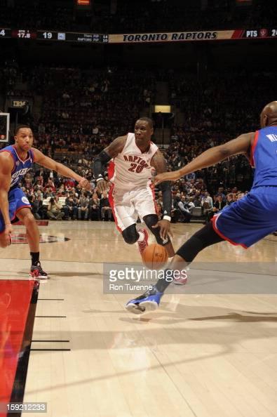 Mickael Pietrus of the Toronto Raptors drives to the hoop against the Philadelphia 76ers during the game on January 9 2013 at the Air Canada Centre...