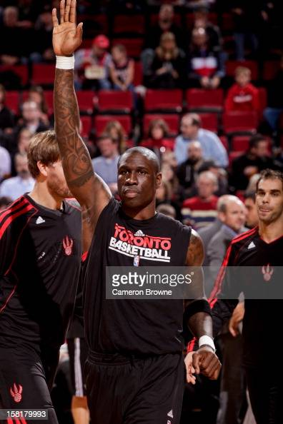 Mickael Pietrus of the Toronto Raptors greets teammates before playing against the Portland Trail Blazers on December 10 2012 at the Rose Garden...