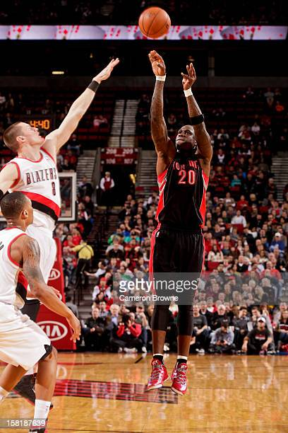 Mickael Pietrus of the Toronto Raptors shoots a threepointer against Luke Babbitt of the Portland Trail Blazers on December 10 2012 at the Rose...
