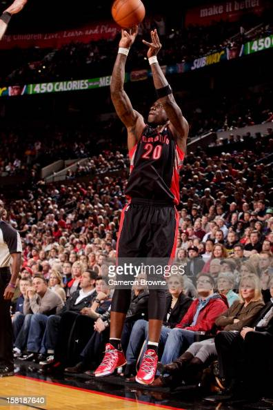 Mickael Pietrus of the Toronto Raptors shoots a threepointer against the Portland Trail Blazers on December 10 2012 at the Rose Garden Arena in...