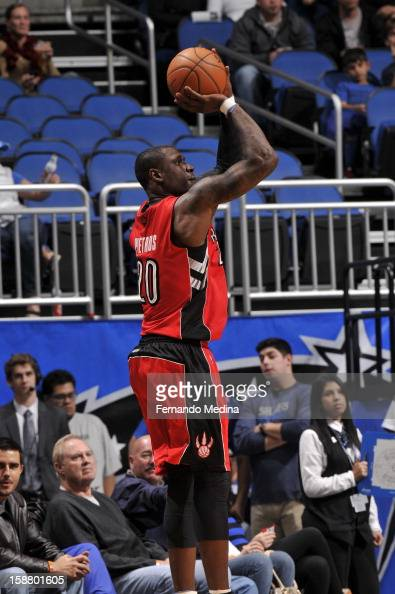 Mickael Pietrus of the Toronto Raptors takes a three point shot against the Orlando Magic during the game on December 29 2012 at Amway Center in...