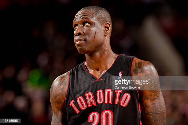 Mickael Pietrus of the Toronto Raptors waits to resume action against the Portland Trail Blazers on December 10 2012 at the Rose Garden Arena in...