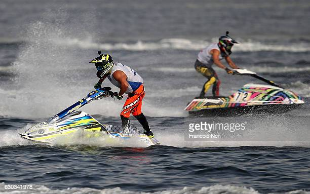 Mickael Poret of France and Jereemy Poret of France race in the Ski Division GP1 final during the Aquabike Class Pro Circuit World Championships...
