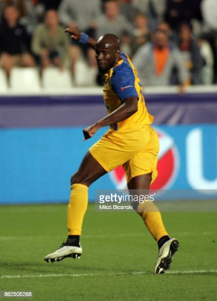 Mickael Pote of Apoel celebrate scoring a goal during the UEFA Champions League group H match between APOEL Nikosia and Borussia Dortmund at GSP...
