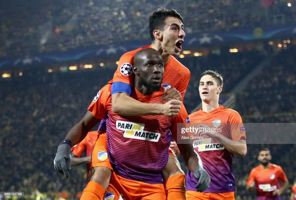 Mickael Pote of Apoel FC celebrates scoring his sides first goal with his team mates during the UEFA Champions League group H match between Borussia Dortmund and APOEL Nikosia at Signal Iduna Park on November 1, 2017 in Dortmund, Germany.