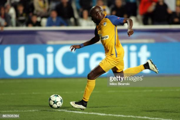 Mickael Pote of Apoel in action scoring a goal during the UEFA Champions League group H match between APOEL Nikosia and Borussia Dortmund at GSP...