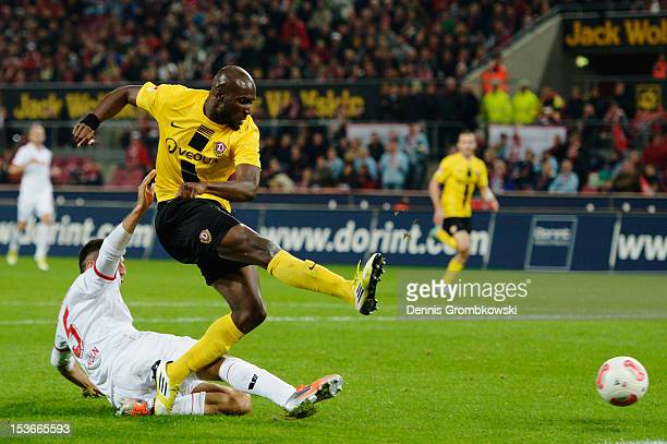 Mickael Pote of Dresden scores the first goal during the Second Bundesliga match between 1 FC Koeln and Dynamo Dresden at RheinEnergieStadion on...