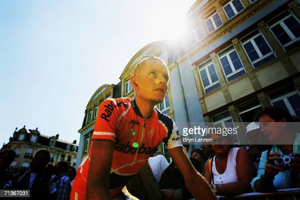Mickael Rasmussen of Denmark and Rabobank makes his way to the start of the 3rd stage of the 93rd Tour de France from EschsurAlzette to Valkenburg on...