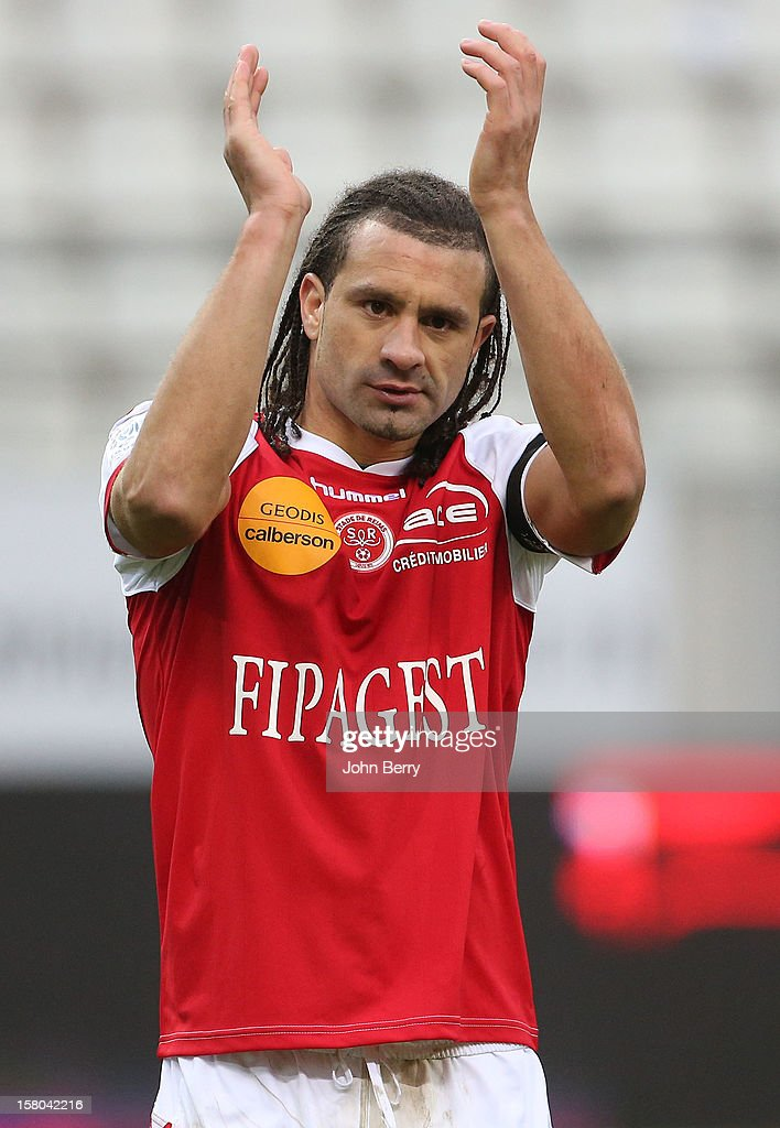 Mickael Tacalfred of Reims in action during the French Ligue 1 match between Stade de Reims and Girondins de Bordeaux at the Stade Auguste Delaune on December 9, 2012 in Reims, France.