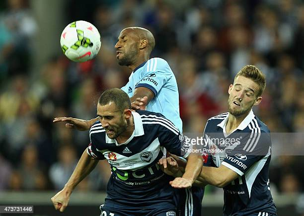 Mickael Tavares of Sydney heads the ball during the 2015 ALeague Grand Final match between the Melbourne Victory and Sydney FC at AAMI Park on May 17...