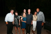 Mickey Arison Madeleine Arison Andy Elisburg Chris Riley Pat Riley Tamika Jones and James Jones attend Dwyane Wade's 'Rock The Boat' 32nd Birthday...