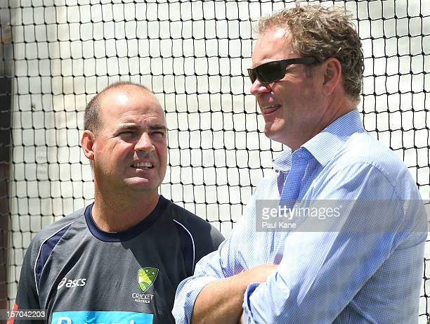 Mickey Arthur and Tom Moody talk during an Australian training session at WACA on November 28 2012 in Perth Australia