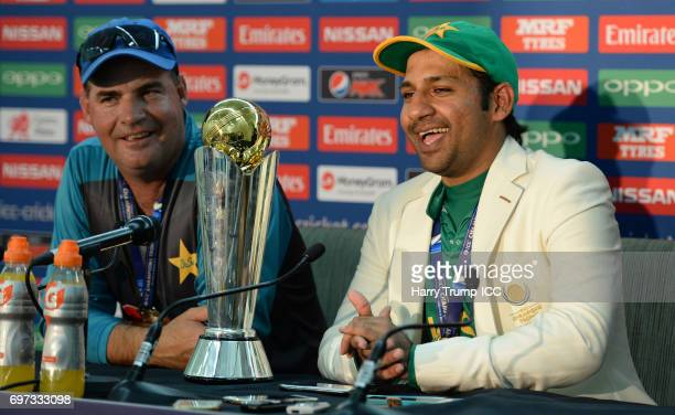 Mickey Arthur Head Coach of Pakistan and Sarfraz Ahmed Captain of Pakistan speak to the media after the ICC Champions Trophy Final match between...
