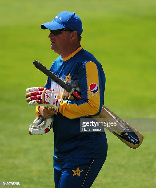 Mickey Arthur Head Coach of Pakistan during Day Three of the Tour Match between Somerset and Pakistan at The Cooper Associates County Ground on July...