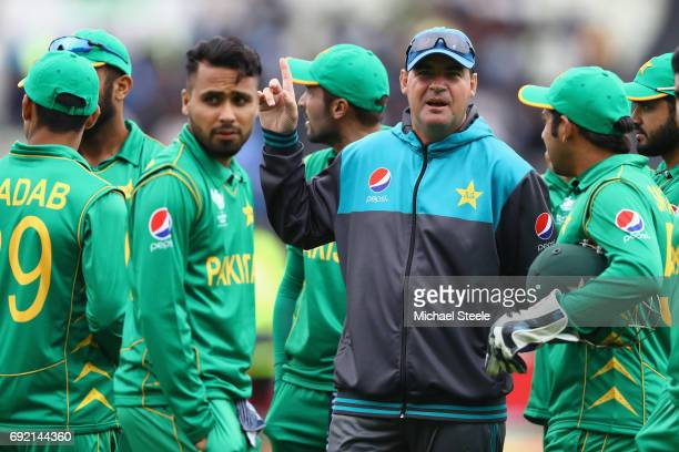 Mickey Arthur the Head Coach of Pakistan during the ICC Champions Trophy match between India and Pakistan at Edgbaston on June 4 2017 in Birmingham...