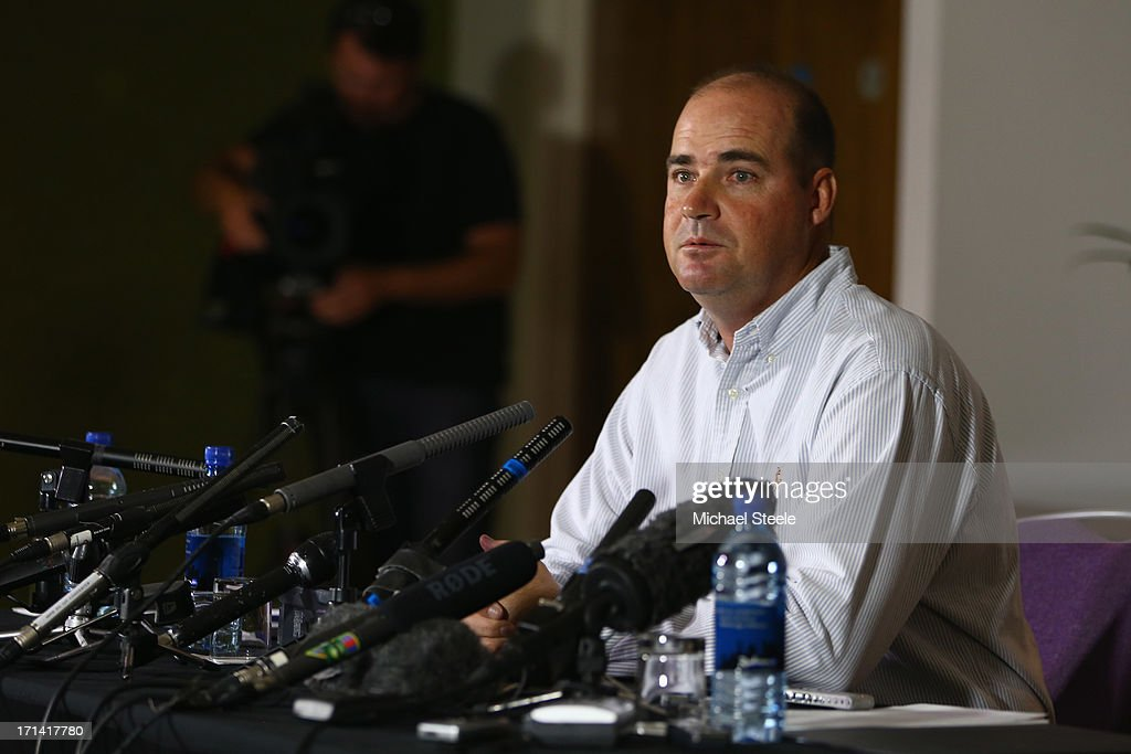 <a gi-track='captionPersonalityLinkClicked' href=/galleries/search?phrase=Mickey+Arthur&family=editorial&specificpeople=789398 ng-click='$event.stopPropagation()'>Mickey Arthur</a> the outgoing coach of Australia address the media after being relieved of his duties during a Australia cricket press conference on June 24, 2013 in Bristol, England.