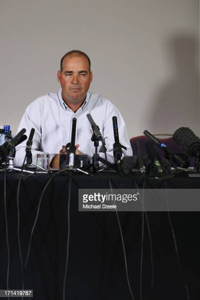 Mickey Arthur the outgoing coach of Australia address the media after being relieved of his duties during a Australia cricket press conference on...