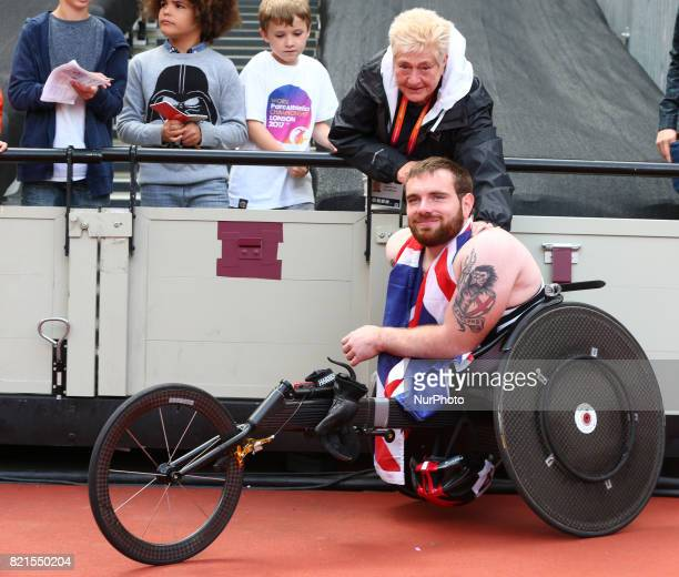 Mickey Bushell of Great Britain and Coach Jenny Archer after Men's 100m T53 Final during World Para Athletics Championships at London Stadium in...
