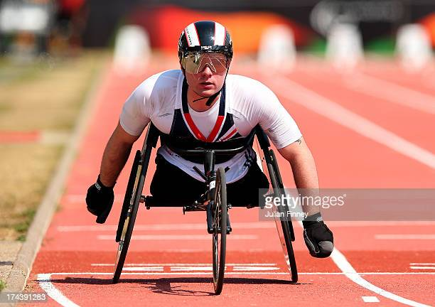 Mickey Bushell of Great Britain in action in the Men's 100m T53 semi final during day six of the IPC Athletics World Championships on July 25 2013 in...