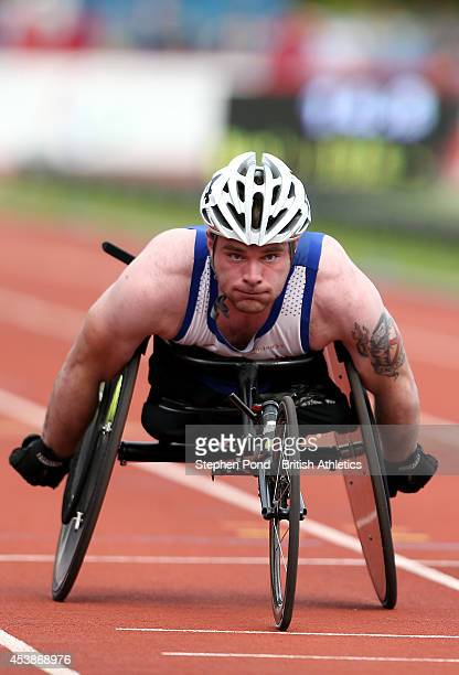 Mickey Bushell of Great Britain wins the Men's 100m T53 event during day two of the IPC Athletics European Championships at Swansea University Sports...