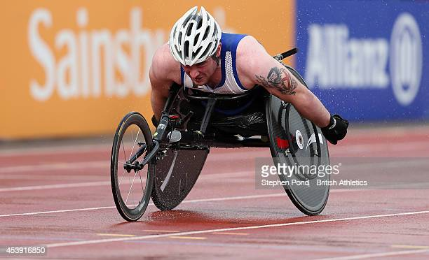 Mickey Bushell of Great Britain wins the Men's 200m T53 event during day three of the IPC Athletics European Championships at Swansea University...