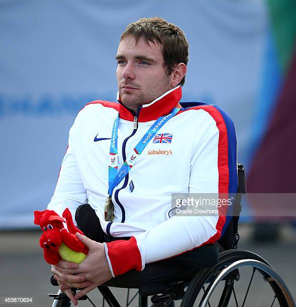 Mickey Bushell of Great Britain with his gold medal after winning the mens 100m T53 during day two of the IPC Athletics European Championships at...