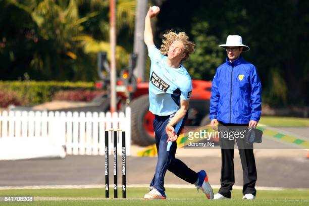 Mickey Edwards of Cricket NSW bowls during the Cricket NSW Intra Squad Match at Hurstville Oval on September 2 2017 in Sydney Australia