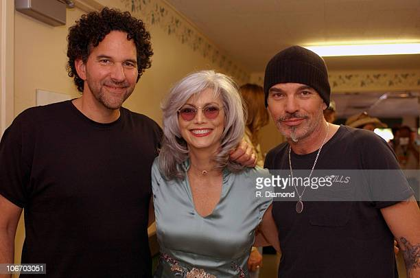 Mickey Emmylou Harris and Billy Bob Thornton during Farm Aid 2003 Backstage at Germaine Amphitheater in Columbus Ohio United States