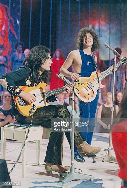 Mickey Finn and Marc Bolan of British pop group TRex performing live on the BBC 'Top Of The Pops' programme London circa 1971