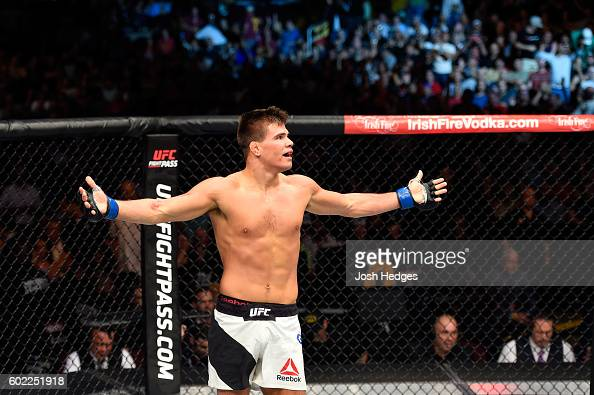 Mickey Gall celebrates after defeating Phil 'CM Punk' Brooks by submission in their welterweight bout during the UFC 203 event at Quicken Loans Arena...