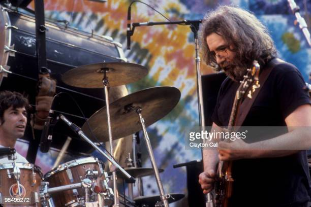Mickey Hart and Jerry Garcia performing with the Grateful Dead at the Greek Theater in Berkeley California on May 22 1982