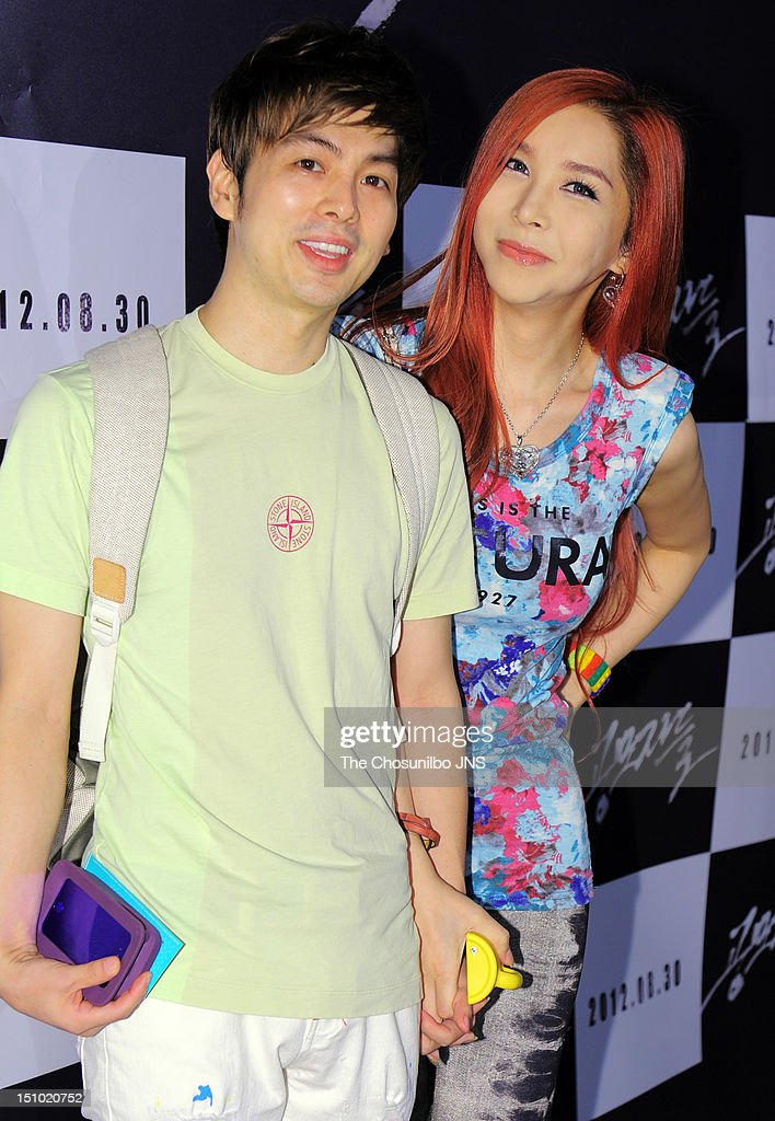 Mickey Jung and Harisu attend the 'The Traffickers' VIP Press Screening at COEX Megabox on August 21 2012 in Seoul South Korea