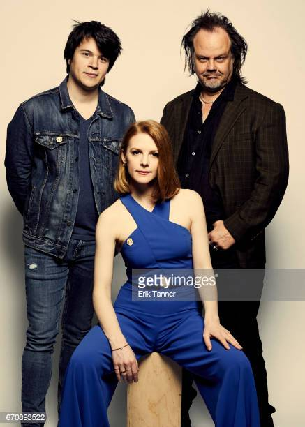 Mickey Keating Larry Fessenden and Ashley Bell from 'Psychopaths' pose at the 2017 Tribeca Film Festival portrait studio on April 20 2017 in New York...