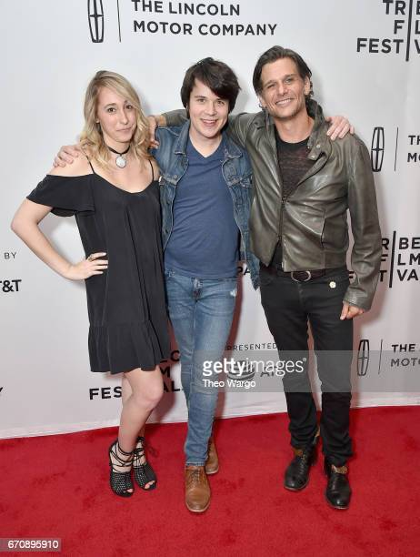 Mickey Keating Mark Kassen and guest attend the 'Psychopaths' Premiere during 2017 Tribeca Film Festival at Cinepolis Chelsea on April 20 2017 in New...