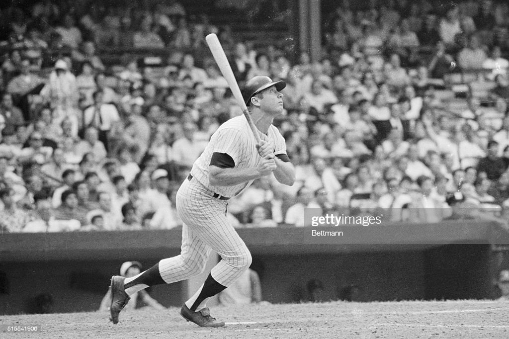 Mickey Mantle gives a homer in the sixth inning of the first game of twinight here in a twin bill against the Oakland A's It was Mickey's 529th...