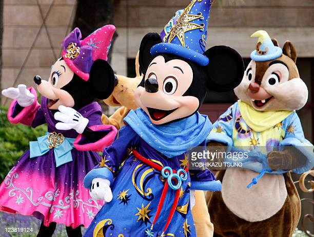 Mickey Mouse and Disney characters greet guests to celebrate the 10th anniversary of Tokyo DisneySea at Urayasu city suburban Tokyo on September 4...