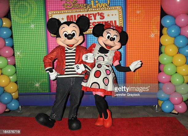 Mickey Mouse and Minni Mouse attend Disney Live Mickey's Music Festival at Madison Square Garden on March 23 2013 in New York City