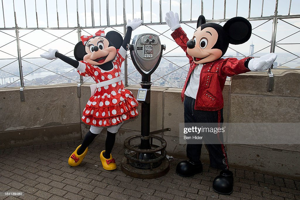 Mickey Mouse and Minnie Mouse of Disney Live! MickeyÕs Music Festival visits The Empire State Building on March 20, 2013 in New York City.
