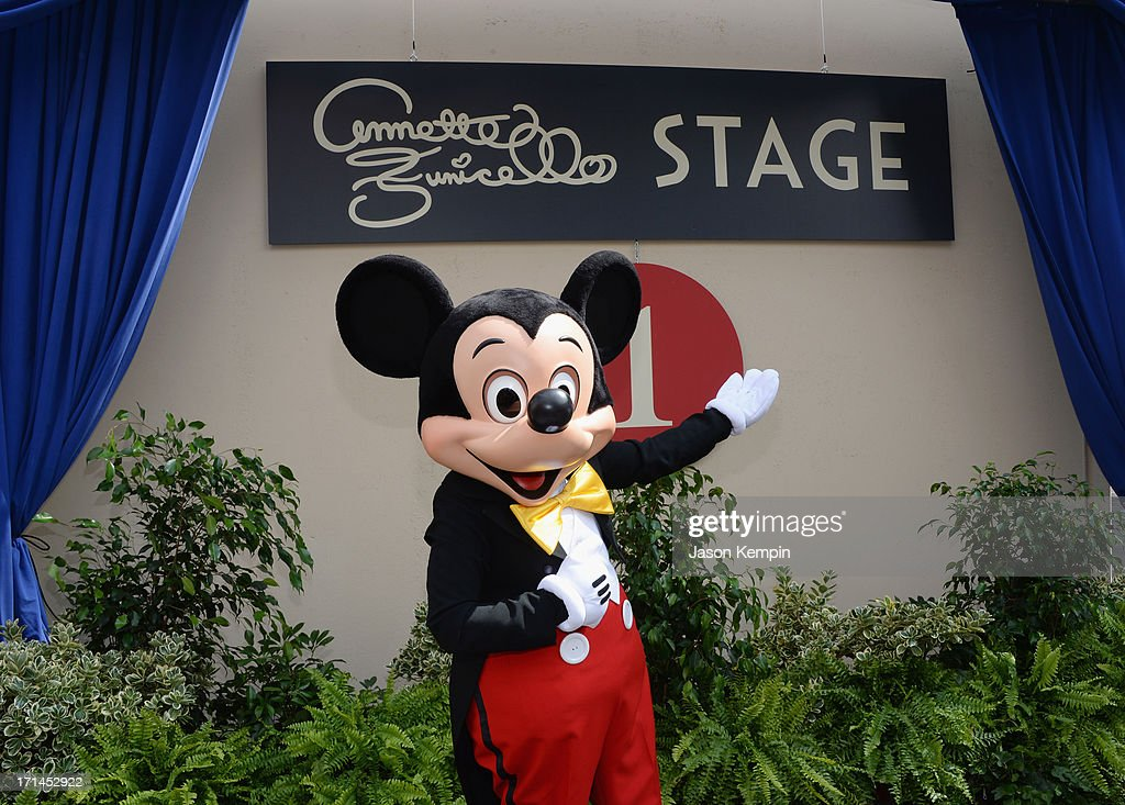 Mickey Mouse is seen outside the exterior of Stage 1 during a special stage rededication ceremony for Annette Funicello hosted by The Walt Disney Company at Walt Disney Studios on June 24, 2013 in Burbank, California.
