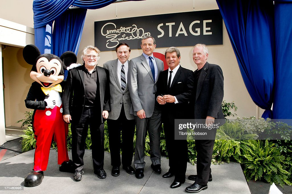Mickey Mouse, Tim Considine, Richard Sherman, <a gi-track='captionPersonalityLinkClicked' href=/galleries/search?phrase=Bob+Iger&family=editorial&specificpeople=171211 ng-click='$event.stopPropagation()'>Bob Iger</a>, <a gi-track='captionPersonalityLinkClicked' href=/galleries/search?phrase=Frankie+Avalon&family=editorial&specificpeople=223972 ng-click='$event.stopPropagation()'>Frankie Avalon</a> and David Stollery attend the stage one rededication ceremony hosted by Walt Disney Company CEO <a gi-track='captionPersonalityLinkClicked' href=/galleries/search?phrase=Bob+Iger&family=editorial&specificpeople=171211 ng-click='$event.stopPropagation()'>Bob Iger</a> honoring 'America's Sweetheart' Annette Funicello at Walt Disney Studios on June 24, 2013 in Burbank, California.